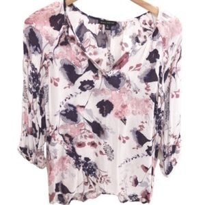 Willi Smith Purple/ White Floral Blouse Large